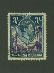 Northern Rhodesia 1938 3sh George VI Scott 42 used, Value = $16.00