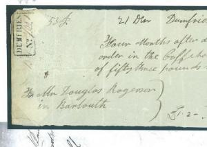 1847.2 GB COFFEE HOUSES Scotland *Dumfries No.* Handstamp £53 Payment Document