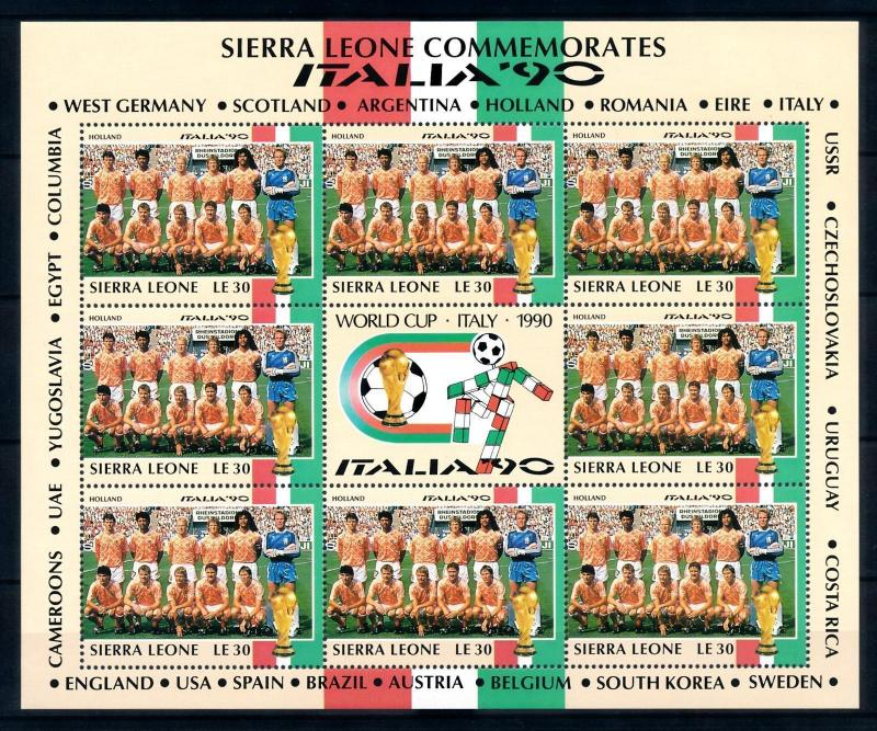 [95419] Sierra Leone 1990 World Cup Football Soccer Italy Netherlands Sheet MNH