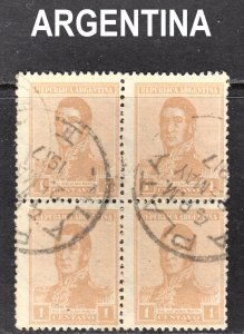 Argentina Scott 232 Fine used block of 4 with a beautiful SON cds.