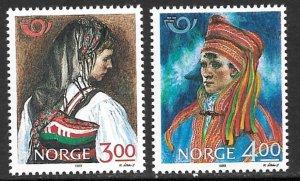 NORWAY 1989 Folk Costumes Set Sc 940-941 MNH
