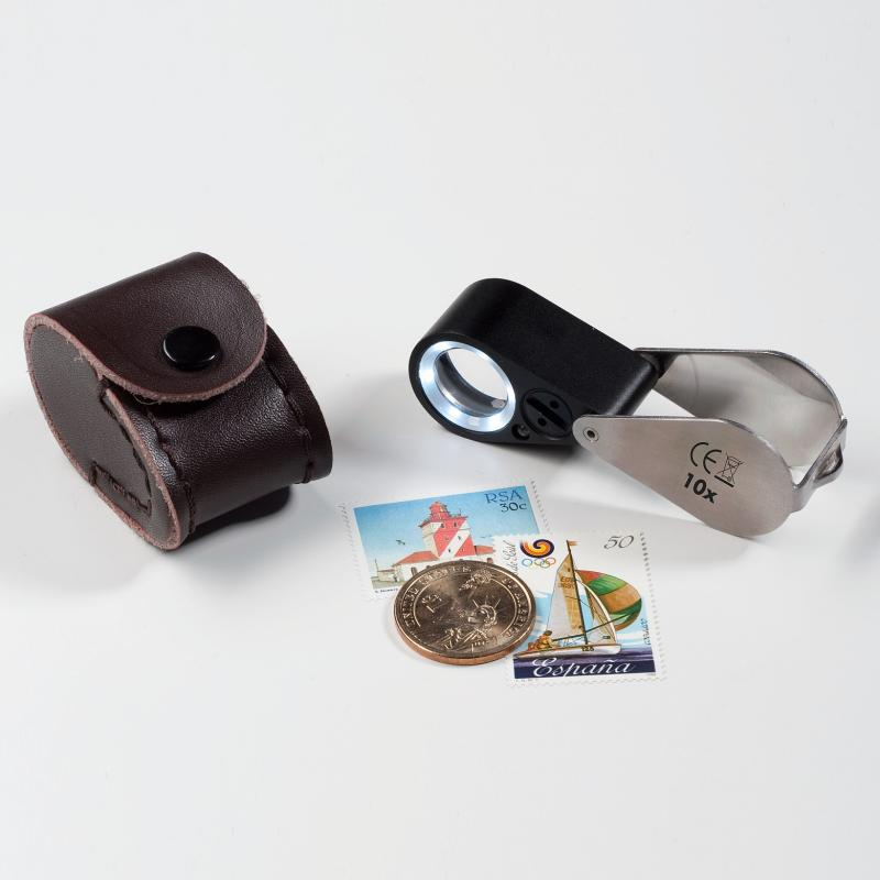 PRECISION MAGNIFIER WITH 10X MAGNIFICATION, LED AND UV LAMP FOR STAMPS, COINS