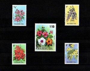 BARBUDA - 1974 - FLOWERS - OLEANDER - CASSIA - HIBISCUS ++ 5 X MINT - MNH SET!