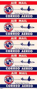 Braniff International Airways, Pane of 5 Air Labels, Cinderella Labels, N.H.