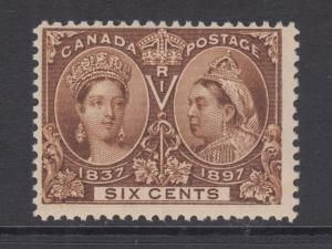 Canada Sc 55 MLH. 1897 6c yellow brown QV Jubilee F-VF