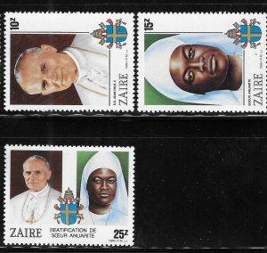 Zaire 1986 Beatification Sister Anuarite Nengapeta Sc 1226-28 MNH A1261