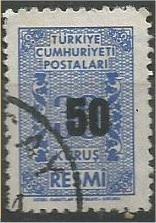 TURKEY, 1963, used 50k on 30k, OFFICIAL Scott O82