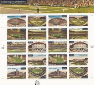 US Stamps 2001 Baseball Fields Sheet of 20 Stamps Scott #3510-9
