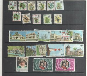 Fiji Stamps Birds Buildings 1970-1991 Mint 25 stamps Price includes backing shee