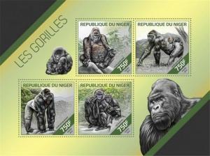 Niger MNH S/S Gorillas 2014 4 Stamps