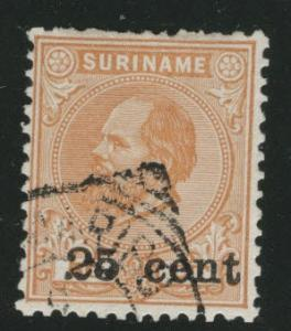 Suriname Scott 40 used 1900 surcharged stamp short perfs