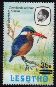 Lesotho - 1987 35s on 25s Kingfisher '1981' MNH** SG 720b