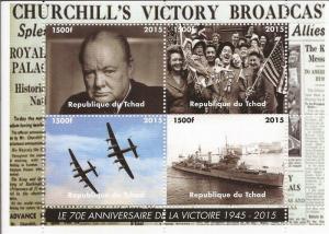 Chad - 2015 Churchill Victory Broadcast - 4 Stamp Sheet - 3B-362