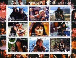 Turkmenistan 2000 Xena Warrior Princess American TV Sheet Perforated mnh.vf