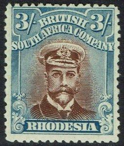 RHODESIA 1913 KGV ADMIRAL 3/- DIE III PERF 14