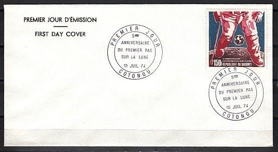 Dahomey, Scott cat. C208. 5th Anniversary, Moon Walk issue. First day cover