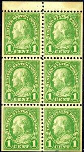 US 632a – 1926-34 1c Franklin, green, booklet pane of 6. MNH OG VF