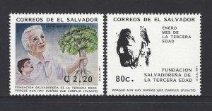 EL SALVADOR JANUARY MONTH of the ELDERLY,BOY,OLD MAN HOLDING TREE Sc 1342-3 MNH