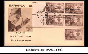 USA - 1980 SARAPEX - 80 SALUTES SCOUTING USA 20th ANNIV - BLK OF 4 + 1V - MINT