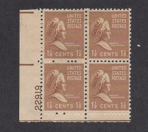 United States, 805, Martha Washington Plate Block of 4, #22919, LL, MNH
