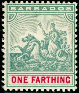BARBADOS SG135, ¼d slate-grey & carmine, LH MINT. Cat £13. WMK MULT CA