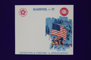 MANPHIL 1975 Apollo Soyuz Lexington bicentennial stamp expo Souvenir card page