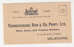 VICTORIA, MELBOURNE, Postal Card, PTPO, Younghusband, Row & Co., Wool, Grain