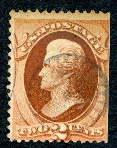 #146 – 1870-71 2c Jackson, red brown.  Used Avg.