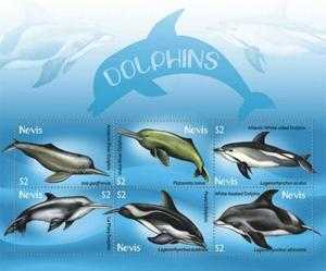 Nevis - Dolphins - 6 Stamp  Sheet  - NEV0912SH