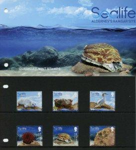 Alderney Marine Stamps 2020 MNH Sealife Ramsar Birds Crabs Corals 6v Pres Pack
