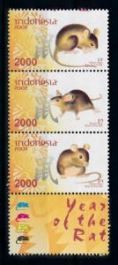 [78265] Indonesia 2008 Wild Life Chinese New Year Rat with Label MNH