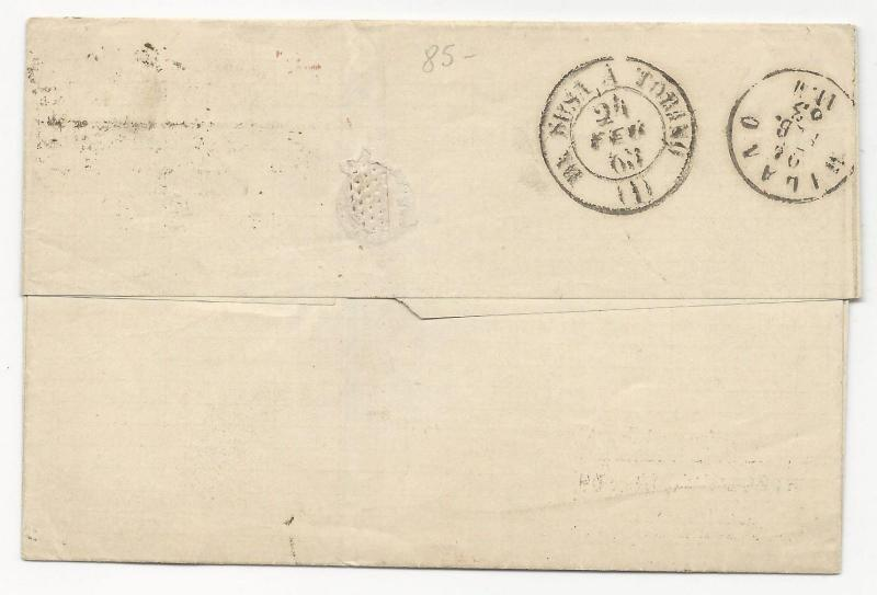 GREAT BRITAIN Scott #45 x2 on Cover London 1863