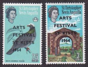 St. Kiitts - Nevis, 161-162, Arts Festival Overprints, Mint NH,
