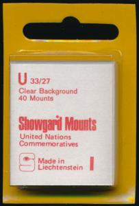 Showgard Stamp Mounts Size U 33/27 CLEAR Background Pack of 40