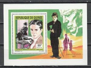 Guinea, Scott cat. 1204. Cinema Star, Charlie Chaplin value as a s/sheet.