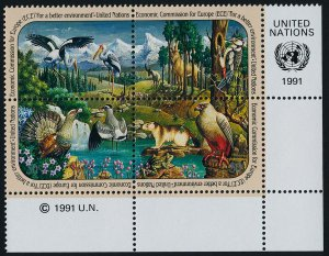 United Nations - New York 587a BR Block MNH - Animals, Birds, Flower, Frog