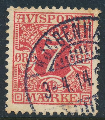 Denmark Scott P3 (AFA AP3), 7ø carmine Newspaper, F-VF Used