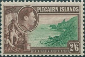 Pitcairn Islands 1940 SG8 2/6d Christian crew and coast MLH