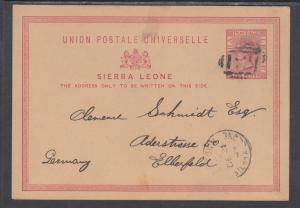 Sierra Leone H&G 1 used 1881 1p Queen Victoria Postal Card to Germany