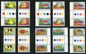 COCOS ISLAND 34-50 MNH GUTTER PAIRS SCV $20.30 BIN $12.50 MARINE LIFE
