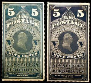 PR4 5c Light Blue & PR8 5c Blue 1865-81 Newspaper Stamps Unused 2 items