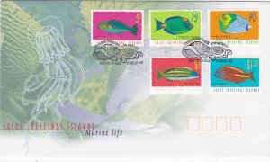 Cocos Islands # 304, 308, 311, 312 & 314, Fish, First Day Cover
