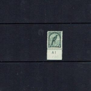 New Zealand 1941 1/- Parson Bird, plate number tab, Perf 12.5, SG 588b MNH