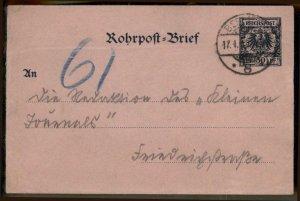 Germany 1880-90s Berlin Rohrpost Pneumatic Krone Adler Cover 30pf Station G96939