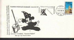 Romania, 1997 issue. 21/OCT/97. Composer P. Dukas cancel & Disney Cachet Cover.