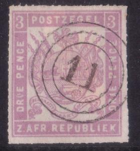 TRANSVAAL 1870s 3d roulette - an old forgery with nice numeral cancel......60276