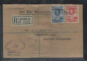 GOLD COAST (P2708B)  1947  KGVI 1 1/2D+3D REG OHMS TO BOLGATANGA PO