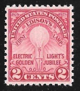 655 2 cents Edison Stamp mint OG NH EGRADED XF 92 XXF