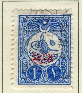 TURKEY; 1908 early Printed Matter Optd. issue fine used 1Pi. value