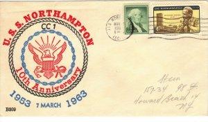USS NORTHAMPTON CC-1 1963 Cachet Naval Cover 10th Anniversary F